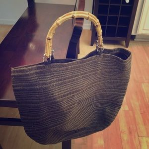 Brown tote with bamboo handles